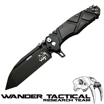 Wander Tactical ® Hurricane Folding Knife (Black Handle) - Black