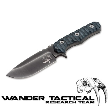 Wander Tactical ® Lynx Knife (Grey Handle), Black Kydex - Clear