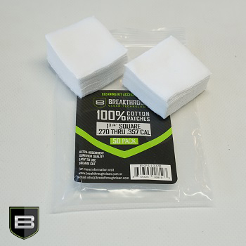 Breakthrough ® Baumwoll Patches (für Kaliber .270 cal. bis .357 cal.) - 50er Pack