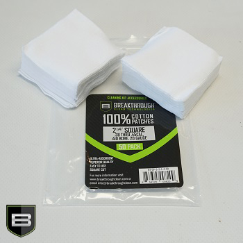 Breakthrough ® Baumwoll Patches (für Kaliber .45 cal. bis .58 cal.) - 50er Pack