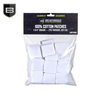 Breakthrough ® Baumwoll Patches (für Kaliber .270 cal. bis .357 cal.) - 500er Pack