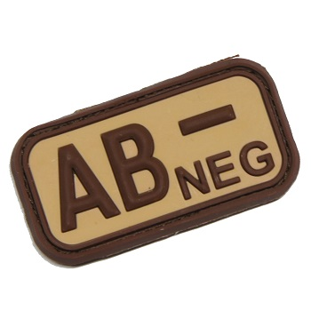 "Defcon 5 ® Blood-Type PVC-Patch ""AB, NEG"" - Desert"
