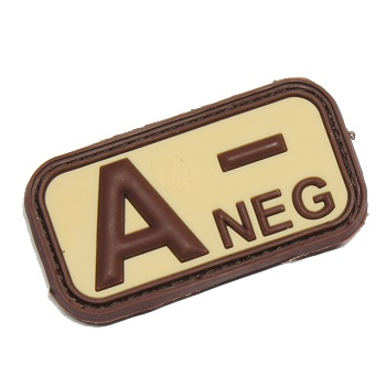 "Defcon 5 ® Blood-Type PVC-Patch ""A, NEG"" - Desert"