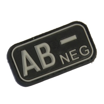 "Defcon 5 ® Blood-Type PVC-Patch ""AB, NEG"" - Black"
