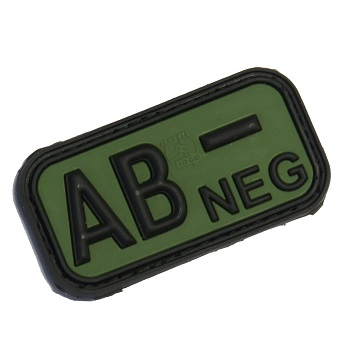 "Defcon 5 ® Blood-Type PVC-Patch ""AB, NEG"" - Olive"