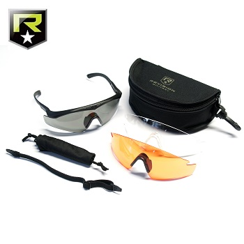 "Revision ® Sawfly Max-Wrap MilSpec Ballistic Googles ""Deluxe"", Black - Clear/Smoke/Vermillion"